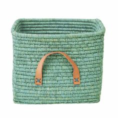 Rice Dk Mint Green coloured raffia square storage basket great update for any room, including the kids room or living room Soft Toy Storage, Toy Storage Baskets, Bag Storage, Kids Storage, Square Baskets, Toy Basket, Playroom Furniture, Leather Handle, Home Accessories