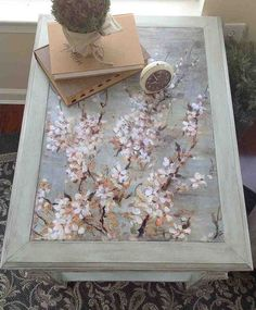 10 table upcycled with mod podge chalk paint, chalk paint, home decor, living room ideas, painted furniture, top of table transformed by decoupage and chalk paint
