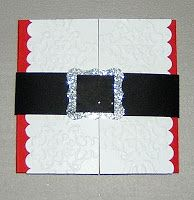 Stitchin n Stampin' on Paper: Santa Suit gift card holder