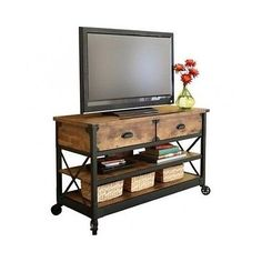 Rustic-Pine-Casters-Table-TV-Stand-Wood-Reclaimed-Storage-Entertainment-Cart-NEW