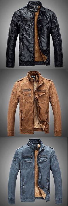 Men Coats And Jackets: Mens Genuine Lambskin Leather Jacket Blue Slim Fit Biker Motorcycle Jacket BUY IT NOW ONLY: $34.19