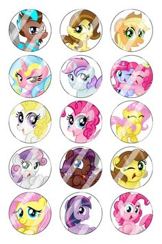 """My Little Pony Bottle Cap 1"""" Circle Images Sheet #5 instant download or pre cut"""