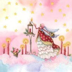 GOLLONG Engel zündet Kerzen an - Nina Chen Postkarte