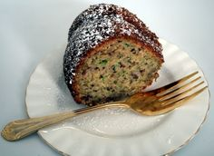 Zucchini & Banana Bundt cake. Moist and delicious, the best of both worlds! A great summer treat!
