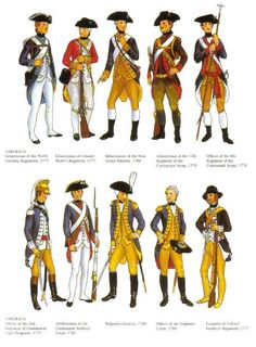 Revolutionary War ★ United States military uniforms... And many wore them until they were hanging-off-their-body rags. (July 4th, Independence Day, determination)