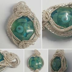 Handmade lampwork bead wrapped and layered in silver plated woven wire pendant, focal, statement, summer by YouNiqueYou on Etsy