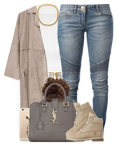 """""""Balmain Jeans. ✨"""" by livelifefreelyy ❤ liked on Polyvore featuring WearAll, Zara, Balmain, Yves Saint Laurent and Timberland"""