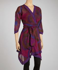 Look at this #zulilyfind! Purple Geometric Tunic by The OM Company #zulilyfinds