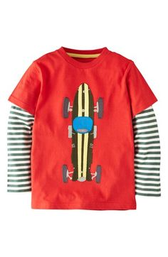Mini Boden 'Big Vehicle' Appliqué Layered Sleeve T-Shirt (Toddler Boys, Little Boys & Big Boys) available at #Nordstrom