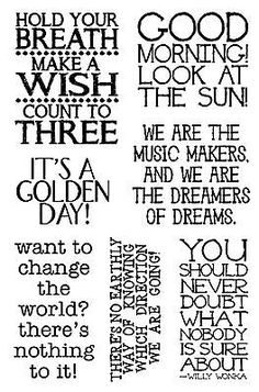 Willy Wonka Quotes Clear Unmounted Stamp Set Impression Obsession NEW Willy Wonka Halloween, Halloween Fun, Willy Wonka Quotes, Wonka Chocolate, Chocolate Party, Charlie Chocolate Factory, Johny Depp, The Knowing, Birthday Sentiments