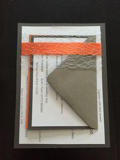Invitation pack. Handmade. Orange, yellow, grey & white theme