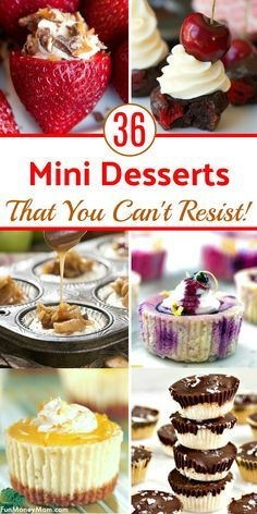 Bite Size Desserts - These mini desserts are perfect for any occasion. Who doesn't love a mini cheesecake or truffle and these stuffed strawberries will make your mouth water! These awesome desserts recipes make a yummy party food! Mini Desserts, Finger Desserts, Bite Size Desserts, Desserts For A Crowd, Summer Desserts, Chocolate Desserts, Delicious Desserts, Awesome Desserts, Elegant Desserts