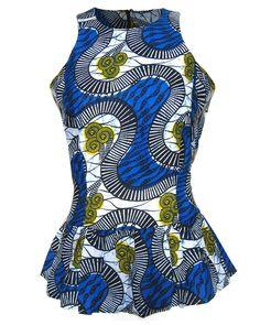Fair Trade African Print Peplum Top