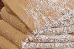 Natural Cotton Chevron Stripe Blanket
