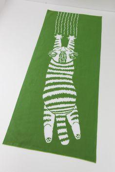 Japanese Tenugui cat fabric  Japanese maneki by japanmomijidesigns