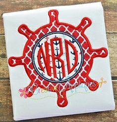 Ship Wheel Monogram Applique - 4 Sizes!   What's New   Machine Embroidery Designs   SWAKembroidery.com Creative Appliques