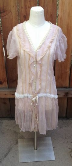 Victorian Pink & Cream VENUS Sheer Lace Drop Waist  Dress Sz M