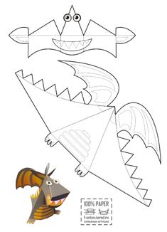 Your SEO optimized title Paper Crafts Origami, Origami Easy, Origami Templates, Paper Craft Templates, Box Templates, Paper Dinosaur, Kindergarten Art Lessons, Disney Coloring Pages, Coloring Book