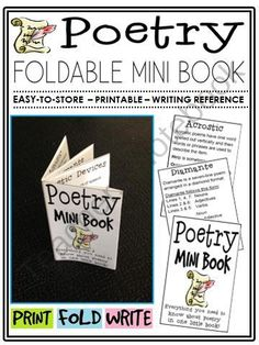 Poetry Mini Book (foldable, printable, fun-filled resource!) from The Classroom Sparrow on TeachersNotebook.com - (7 pages) - This mini book is a great addition to any English Language Arts classroom, and suitable for a variety of levels. Students no longer have an excuse for misplacing their notes.