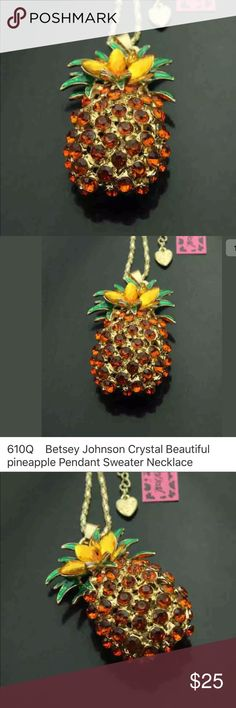 NWT pineapple 🍍 crystal rhinestone charm necklace NWT Brand New pineapple 🍍 crystal rhinestone charm pendant fashion jewelry necklace. Check out my closet, we have a variety of women's MK Micheal Kors Lululemon Free People Lucky Brand jeans Coach Pink VS Victoria Secret handbags 👜 purse 👛 shoes 👠 sandals Gold, silver black chocker fashion jewelry bracelet earrings dresses 👗 tops 👚 skirts bags leggings Beauty & more... Fast shipper! Offers 30% OFF discount. FREE GIFT 🎁 with every…