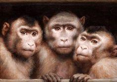 Gabriel Cornelius von Max (Prague-born Austrian painter) 1840 - 1915 Drei Affen (Three Monkeys), 1894