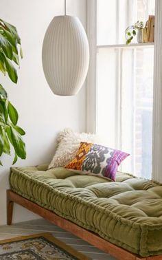 Bohemian Decor Plants George Nelson Cigar Pendant Tufted Cushion Bench