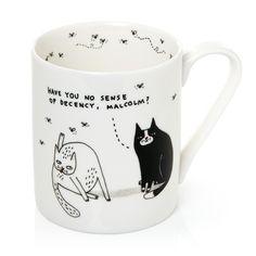 Gemma Correll Pickle Parade - Taza de cerámica (340 ml), diseño de gatos con texto en inglés, color blanco: Amazon.es: Hogar