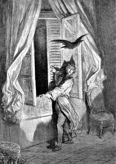 "Illustration by Gustave Doré for Poe's ""The Raven."" published 1884."