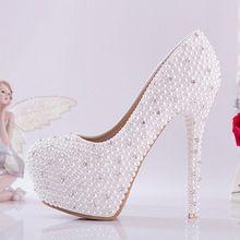 Branco sapatos de noiva de salto alto diamante sapatos única pérola strass…