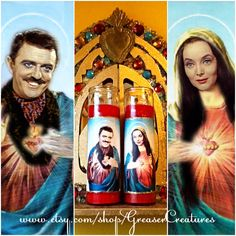 Saint Gomez and Morticia Addams Prayer Candle Set, Patron Saints of Eternal Love by GreaserCreatures on Etsy https://www.etsy.com/listing/177756377/saint-gomez-and-morticia-addams-prayer