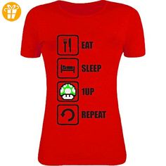 Eat Sleep 1UP Repeat Funny Mario Graphic Womens T-Shirt XX-Large (*Partner-Link)