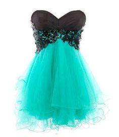 cute turquoise dress w/ black lace
