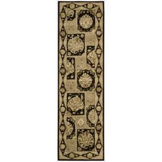 Nourison 3000 Traditional Hand-Tufted Black Runner Rug