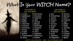 What Is Your Witch Name? Witch Name Generator. I am Blessed Sorcery which is dumb, but if I use my maiden name it's Blessed Soul. Much better :). New Names, First Names, Crazy Names, Weird Names, Witch Name Generator, Dragon Names Generator, Oc Generator, Witch Names, Fantasy Names