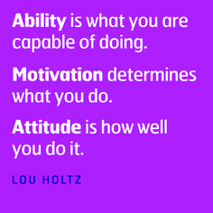 This applies to so many aspects of life!  Attitude Determines Altitude. Yeah, I just quoted our JROTC Motto.