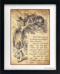 Alice in Wonderland Art Book Print - A4 or A3 Vintage Page Effect Wall Quote. 11x17in