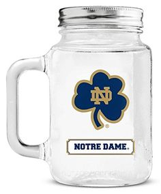 Notre Dame Fighting Irish Mason Jar Glass With Lid ** Click image for more details. (This is an affiliate link)