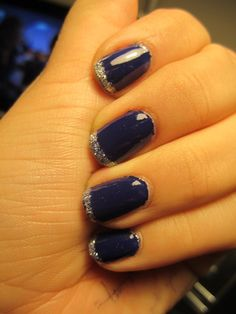 Love&Beauty;'s Navy base with L.A. Colors' Silver Glitter (BNA502) // Who doesn't love a glitter frensh tip