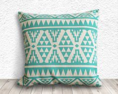 Pillow Cover, Aztec Pillow Cover, Tribal Pillow Cover, Linen Pillow Cover 18x18 - Printed Tribal - 007