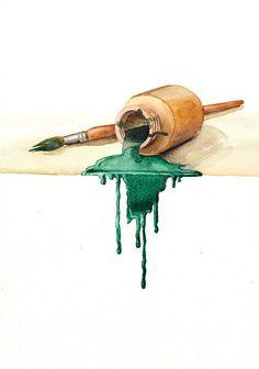 Artist's Brush - Green - original watercolor painting