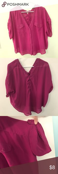 Love Stitch pink chiffon blouse, size s Loose-fitting dark pink chiffon blouse with lace-up back. Looks super cute with skinny jeans or a mini skirt. 100% polyester. Worn once. Love Stitch Tops Blouses