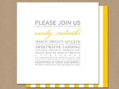 modern striped wedding shower invitation