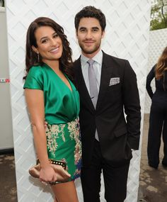 FOX 2014 PROGRAMMING PRESENTATION: GLEE cast members Darren Criss and Lea Michele celebrate during celebrate at the FOX ALL STAR PARTY at Wollman RInk in Central Park, New York on Monday, May 12 in New York.