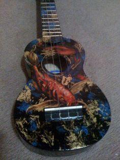 Koi uke - Black Mahalo soprano ukulele, painted in acrylics, and varnished by Jen Ava