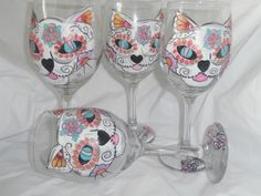Hand painted sugar skull cats. Set of 4 wine glasses/goblets. Hand painted. Cat sugar skull design with sugar skull fish to top it off. by ArtbySethHouse on Etsy