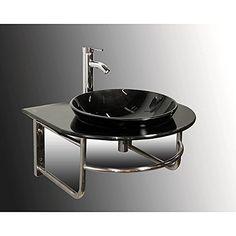 Wall-mount Black Glass Bathroom Vanity Set - Overstock™ Shopping - Great Deals on Kokols Bathroom Vanities Master Bathroom Vanity, Small Bathroom Vanities, Glass Bathroom, Bathroom Ideas, Ada Bathroom, Bath Vanities, Bath Ideas, Lavatory Design, Washroom Design
