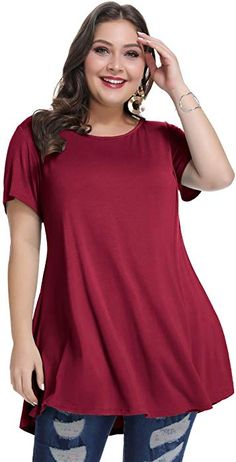 48a2ce37757dc MONNURO Womens Short Sleeve Casual Loose Fit Flare Swing Tunic Tops Basic T- Shirt Plus