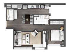 60 Awesome Micro Apartment Layout Ideas on A Budget - Page 40 of 65 Micro Apartment, Tiny Apartments, Studio Apartment Layout, Apartment Design, Sims House Plans, House Floor Plans, Studio Floor Plans, Apartment Floor Plans, Floor Plan Layout