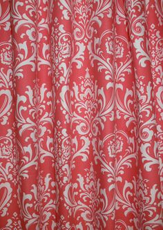"""DAMASK CORAL CURTAIN - A pair of Custom Curtains Ozborn Coral & White 50"""" wide X up to 84"""" Long on Etsy, $108.00"""