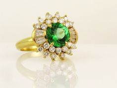 Yellow 18 Karat Halo Ring Size 7.5 one Round Green Tourmaline 8= Baguette Diamonds 22= Round Diamonds | Women's Colored Stone Rings from Studio 2015 |...